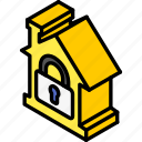 building, house, iso, isometric, locked, real estate icon