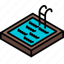 building, iso, isometric, pool, real estate, swimming icon