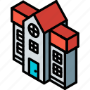 building, iso, isometric, mansion, real estate icon