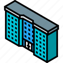 appartment, building, complex, iso, isometric, real estate icon