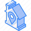 building, house, iso, isometric, location, real estate icon