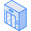 building, elevator, iso, isometric, real estate icon