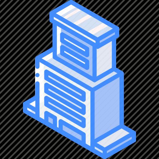 biulding, building, condo, iso, isometric, real estate icon