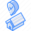 building, iso, isometric, real estate, sale, success icon