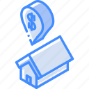 building, iso, isometric, real estate, sale icon