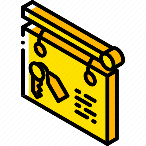 building, iso, isometric, keys, real estate, sign icon