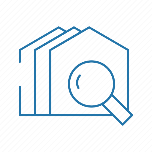 business, estate, house, real, resident, search icon