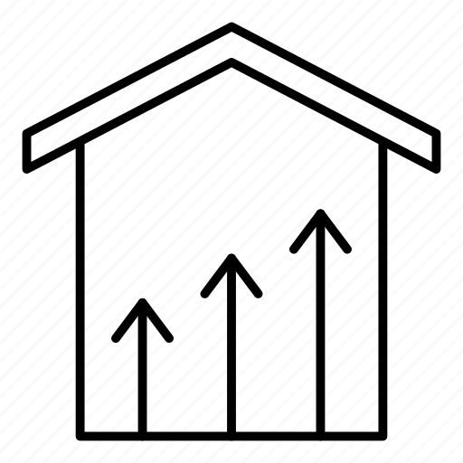 chart, graph, growth, house icon