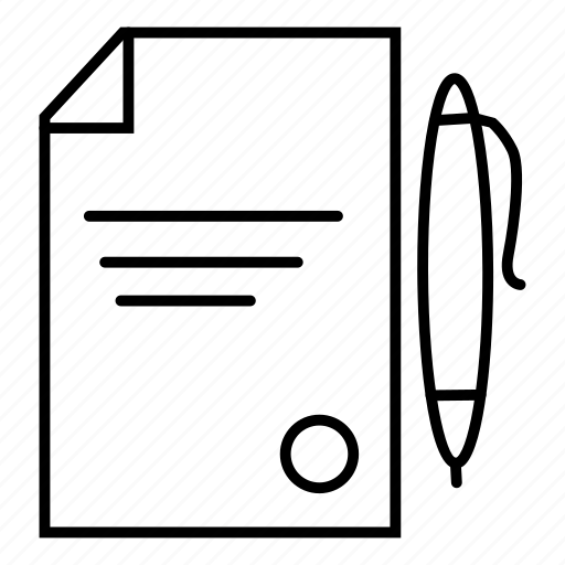 contract, document, paper, pencil icon