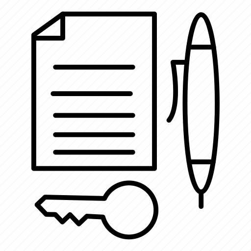 contract, key, paper, pencil icon