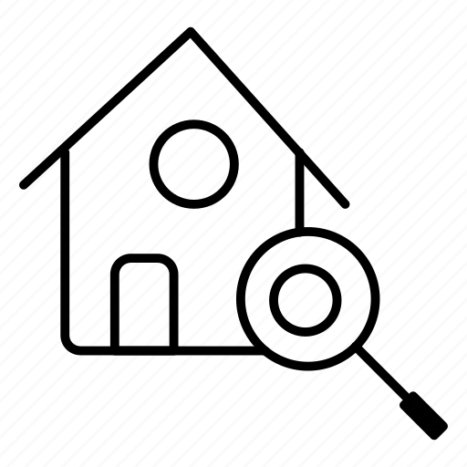 estate, house, real, search icon