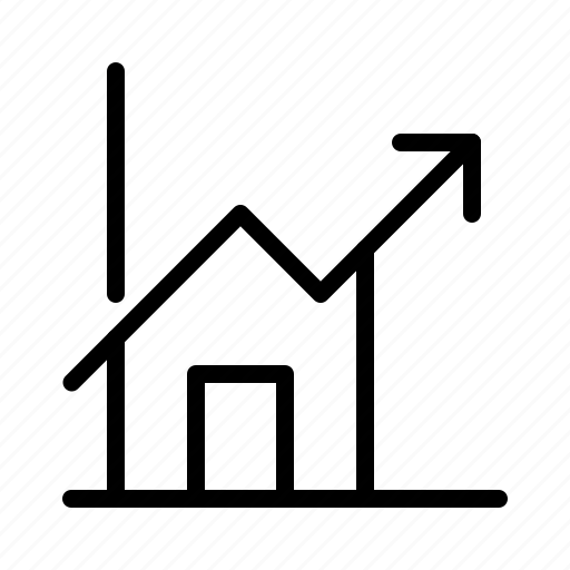 growth, home, house, increase, profit, property, real estate icon