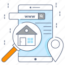 house search, property search, real estate search, relocation, search building icon