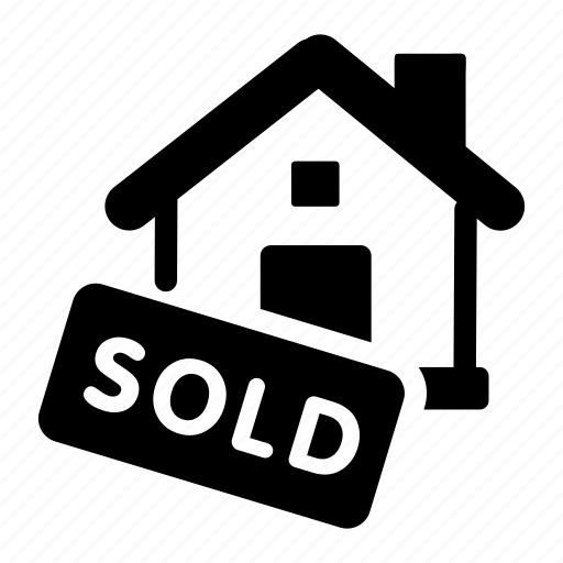 business, house, property, real estate, sign, sold icon