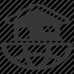 accommodation, apartment, earth, global, globe, world icon