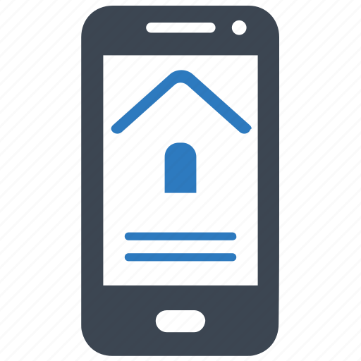 home loan, house, mobile, rent, smartphone icon