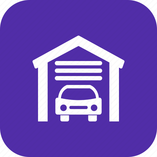 car garage, garage door, home garage, house garage, parking, parking garage, workshop icon