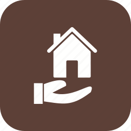 hand, house, house in hand, house on hand icon