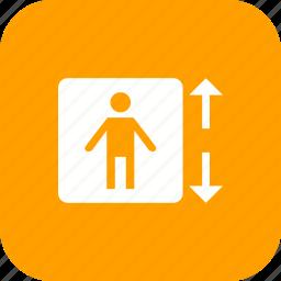 down, elevator, escalator, lift, up icon