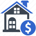 estate, home, investment, loan, price, property icon