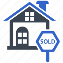 home, property, sign, sign board, sold icon