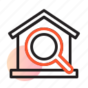 explore, home, house, house search, magnifier, property, real estate icon