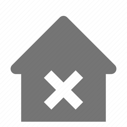 close, delete, home, house icon