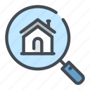 building, estate, house, loupe, magnifier, real, search icon