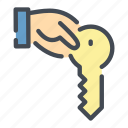 hand, hold, house, key, own, owner icon