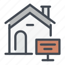 building, house, info, information, real, sell, sign icon