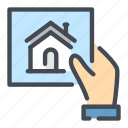 building, doc, document, hand, hold, house icon