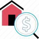 dollar, home, search, sign icon