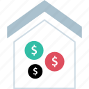 dollar, house, money, signs icon