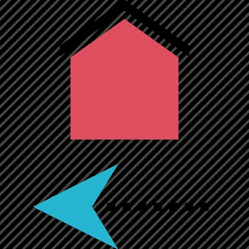 arrow, back, house, left icon