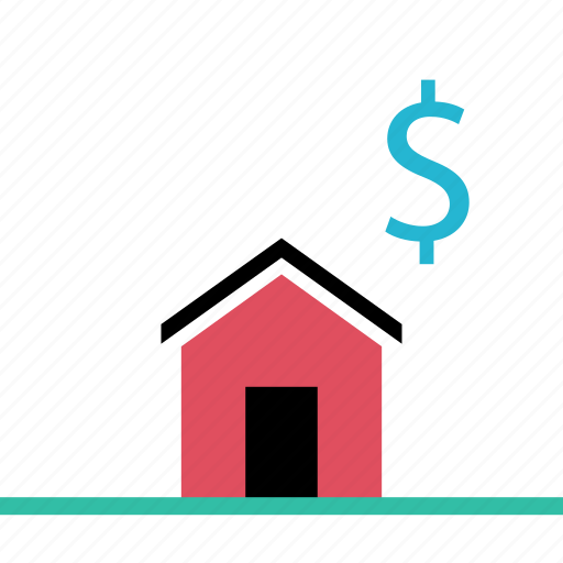 dollar, home, house, sign icon