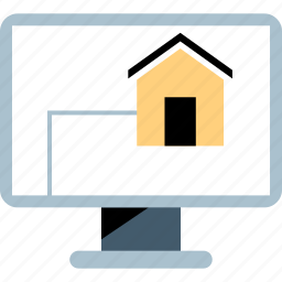 computer, connect, house icon
