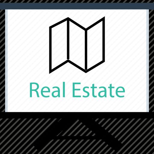 board, estate, map, real icon