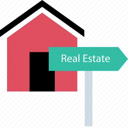 estate, home, real, sign icon