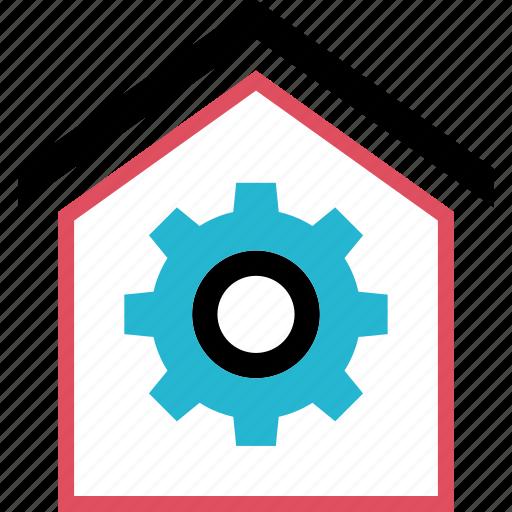 gear, house, option, settings icon