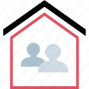 home, house, two, users icon