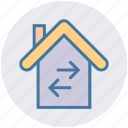 apartment, arrows, home, house, property, real estate, right and left arrows icon
