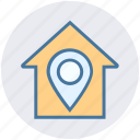 apartment, home, house, house location, map pin, property, real estate
