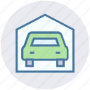 car, car wash, garage, house, real estate, service, vehicle icon