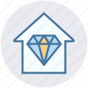 apartment, crystal, diamond, home, house, property, real estate