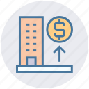bank, building, dollar, dollar sign, enterprise, office, real estate icon