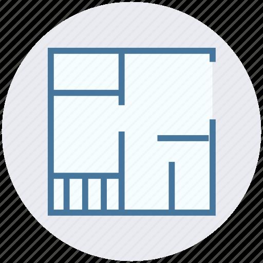 apartment, architecture, blueprint, house, house plan, property, real estate icon