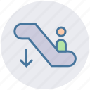 electric stairs, escalator, escalator moving, going down, man on escalator, silhouette, staircase icon
