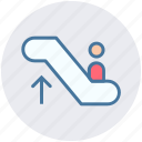electric stairs, escalator, escalator moving, going up, man on escalator, silhouette, staircase icon