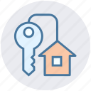 apartment, home, house, house key, key, real, real estate icon