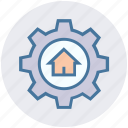 building, cog, gear, home, house, option, real estate icon